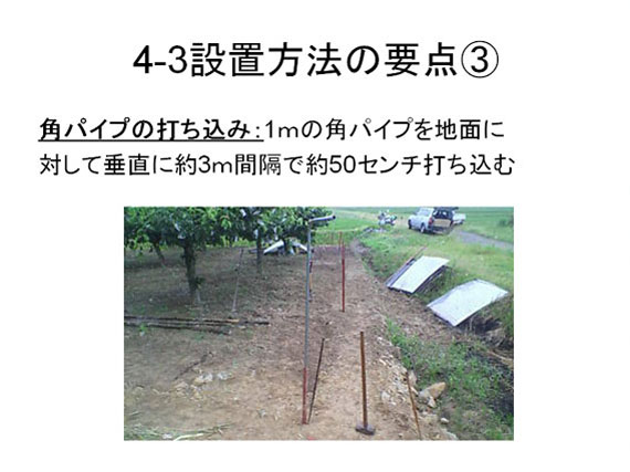 京大方式 猿害防止柵 設置方法